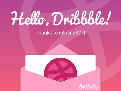Hello Dribbble! first shot envelope thanks invitation dribbble illustration hello debut