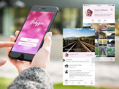 Polygon user interface ui girly pink polygon sns app ios photo camera