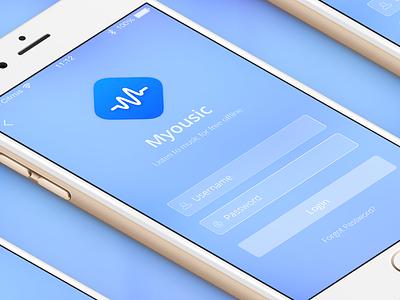 Myousic App icon ui login