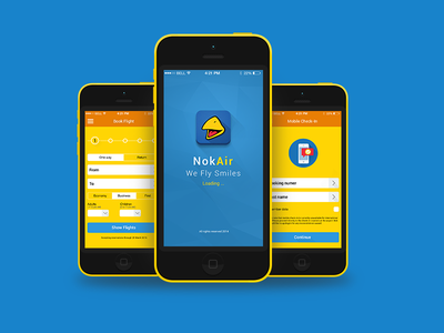 Nok Airlines Application ux user experience user interface ui wireframes flat application mobile