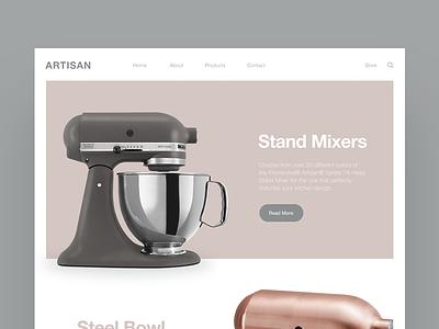 Artisan - Stand Mixers grey mixer design web ux ui