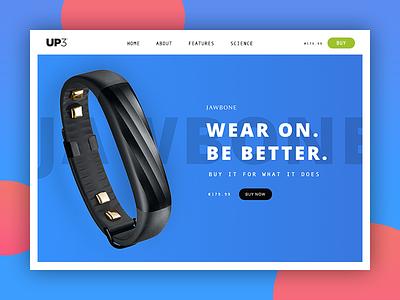 Jawbone up3 - website design web website ux ui