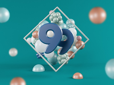 99 Experiment photoshop poster graphic c4d 3d