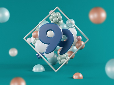 99 Experiment photoshop poster graphic c4d 3d