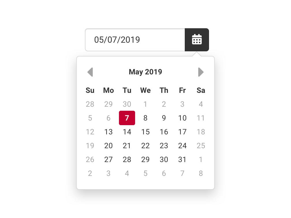 Date Picker Control ui selector selecter control pop over pop up popup pop-up pop-over popover day month datepicker input picker date calendar sketch