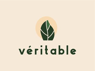 Véritable Garden Logo industrial agriculture garden hydroponics nature leaf typography branding package vector illustration logo branding flat