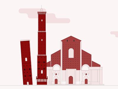 Bologna - Retro illustration vibe vintage retro towers bologna italy story city illustration vector flat illustration