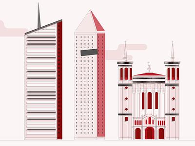 Lyon - Retro Illustration city illustration story france lyon city skyline retro flat vector illustration