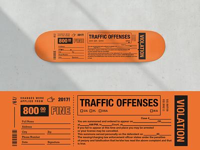 Violation Skateboard Deck Graphics typography industrial deck sketch fine product skatelife lviv skateboard violation police ticket orange skateboarding skate deck skate sb vector illustration design