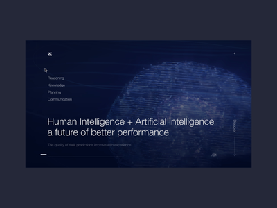 Artificial Intelligence Page Animation c4d futuristic hero hud neural network header deep learning machine learning brain web product interaction prototype ux ui 3d after effects motion design animation