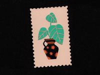 Jarrón de estrellas plants stamps stamp stars vase design paper illustration
