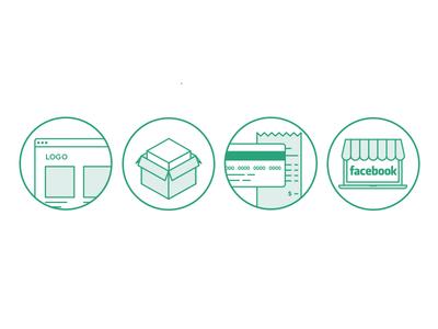 OmbuShop Icons ecommerce store facebook credit card box product logo icons