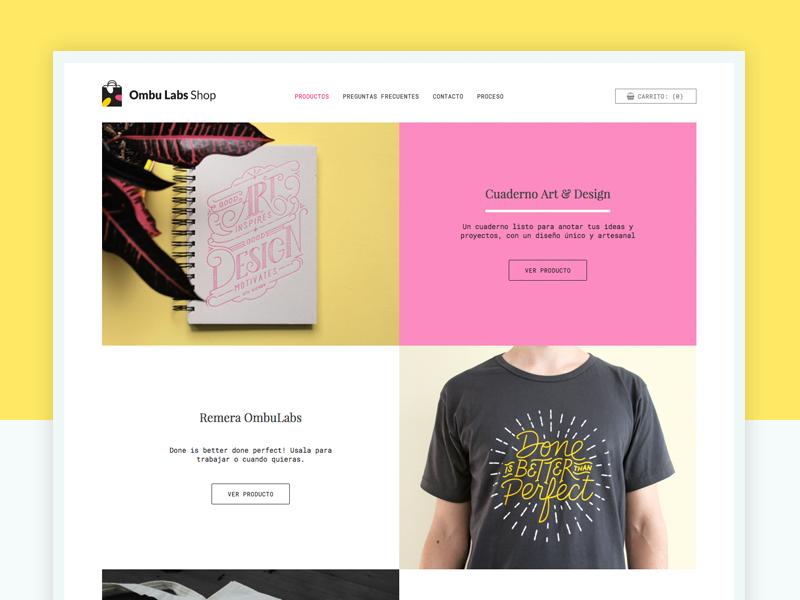 Ombu Labs Shop shop web ui lettering online store store grid product ecommerce