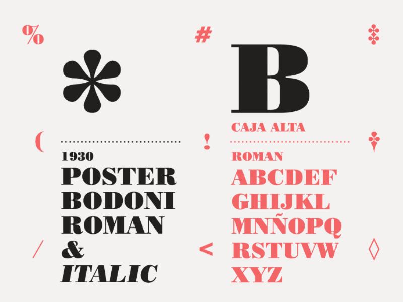 Poster Bodoni Specimen by Cecilia Farías on Dribbble
