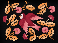 Bird design illustration paper flowers color bird art