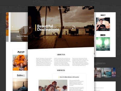 Beautiful Destinations Landing Page Redesign travel beautiful destinations resedign photography website landing page