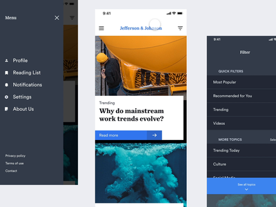 Jefferson & Johnson :: Modern Publication App toptal prototype system app design app ui