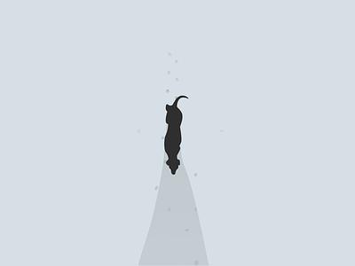 Shadow of self walkingdog flat illustration