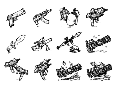 Weapon Sketches rifle sniper ak-47 uzi minigun grenade gun game art gift icon weapon sketch