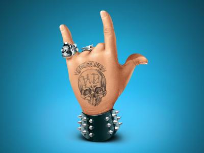 Rock rock hand skull spikes ring hardcore tattoo