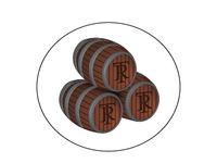 Oak Barrels for Beer Label Illustration