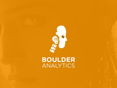Boulder Analytics ai face golden robot logotype illustration design identity symbol mark logo