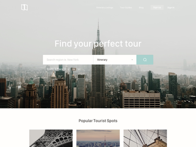 Find your tour travel web ui