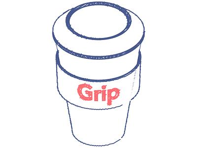 A cup of coffee w/ a grip grip coffee illustration