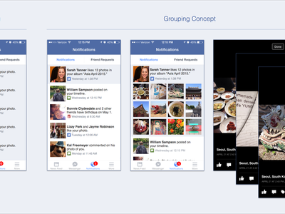 Facebook Notifications animation mobile photos like grouping notifications redesign flow ux ui concept facebook