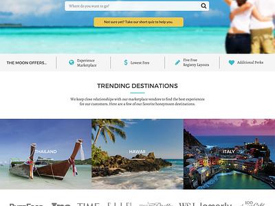 Honeymoon Travel Registry registry travel landing page homepage destination ux ui