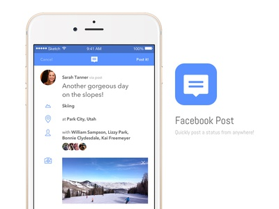Facebook Post App Concept icon facebook concept app post status ui mobile