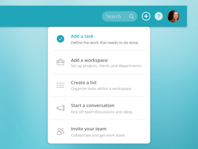 Quick Create  specs interface hover state plus new task ui add create navigation menu dropdown