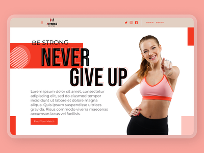 Fitness Web Concept trainer muscles website gym design fitness trainer fitness concept header landing page
