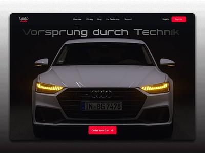 Audi Landing Page landingpage logo branding dark ui website design concept header landing page