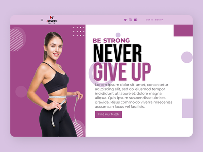 Fitness Landing Page muscles website gym design fitness trainer fitness concept header landing page