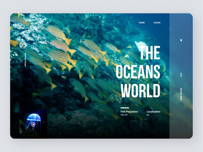 Ocean Landing Page icon typography amazing ui concept ux design minimal