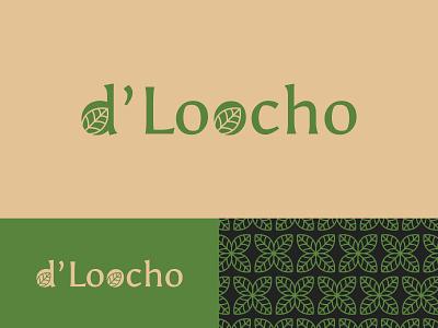 d'Loocho logo typography logodesign graphic design illustration flat green leaves pattern vector branding tea logotype logo