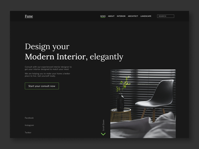 Interior Designer Website Header concept elegant furniture black website minimal web branding ux ui design
