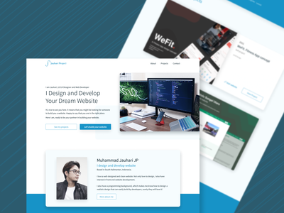 My Personal Website First Design Concept personal landing page design landing page minimal blue exploration branding website concept design ux ui