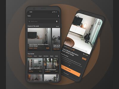 Design Interior Course app design concept material dark design interior course app mobile app exploration ux ui design concept