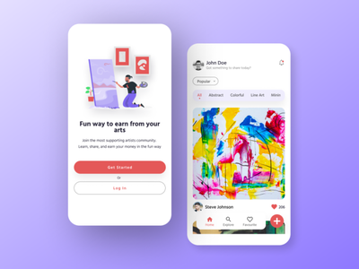 Artwork Sharing Mobile App Concept post artwork mobile ui ux mobile design mobile app social media community art exploration ux ui design concept