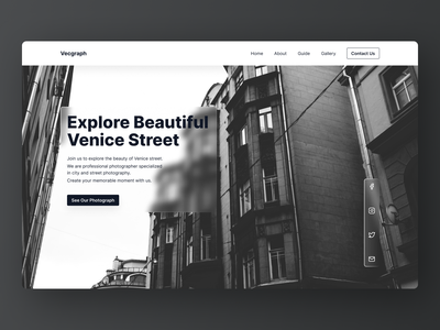 Another Exploration With Black and White (2) street hero section photography white black landing page website minimal exploration ux ui design concept