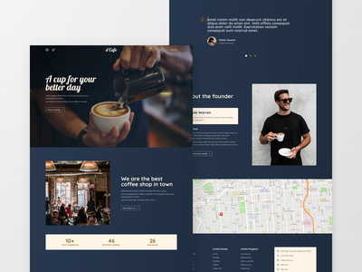 Coffee Shop Landing Page Design coffeeshop coffee clean blue landing page website minimal exploration ux ui concept design