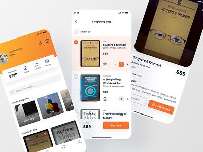 Book store App orange store book mobile app clean minimal exploration ux ui concept design