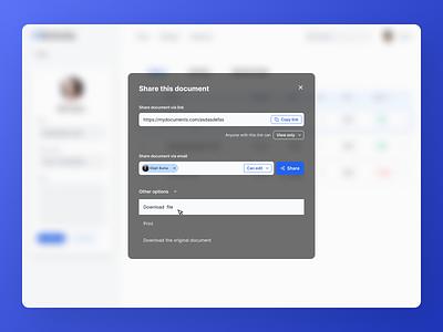 Share Pop-up Modal Exploration webapp glass blue pop-up modal dashboard website exploration ux concept design