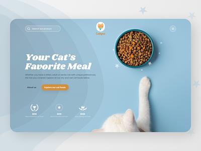 Cat Food Landing Page's Hero Exploration minimalis clean blue cat food food cat landing page website minimal ui exploration ux concept design