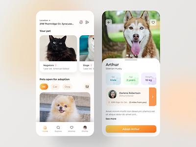 Pet Adoption App Concept user experience user interface orange clean application app mobile iphone android pets animals minimal ui exploration ux concept design