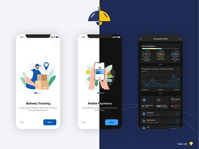 Smart Supplier Mobile app | Light & Dark mode profile page onboarding walkthrough light mode dark mode ios android usability ux ui app illustration design mobile app
