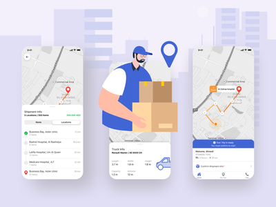 Courier Delivery app shipments delivery vector design mobile app ux ui app usability courier