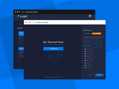 Castr - live video streaming platform creative dashboad web app design stream video tv ux ui
